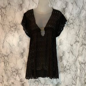 Becca Nordstrom Black Lace Swimsuit Beach Cover A